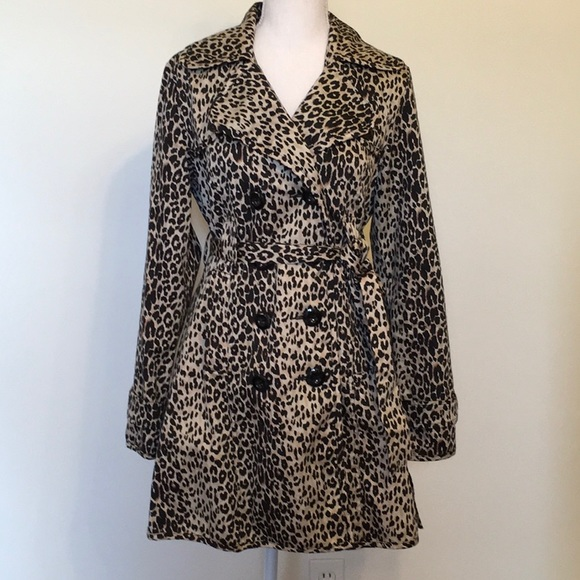 Forever 21 Jackets & Blazers - Forever 21 Leopard Print Double Breasted Trench Ct